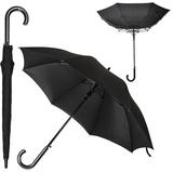Зонт трость антишторм полуавтомат с деревянной ручкой Anti Wind, черный фото