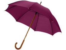Зонт трость механический Jova с изогнутой деревянной ручкой, темно-бордовый фото