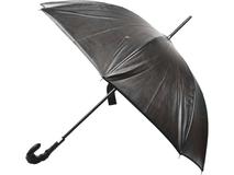 Зонт трость автомат из лайковой кожи, черный фото