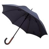 Зонт трость механический с кожаной ручкой Palermo, темно-синий фото