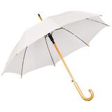 Зонт трость полуавтомат с изогнутой деревянной ручкой, белый фото