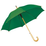 Зонт трость полуавтомат с изогнутой деревянной ручкой, зеленый фото