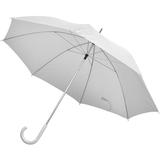 Зонт трость механический с изогнутой пластиковой ручкой, белый фото