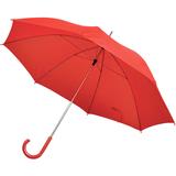 Зонт трость механический с изогнутой пластиковой ручкой, красный фото