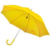 Зонт трость механический с изогнутой пластиковой ручкой, желтый фото