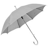 Зонт-трость с пластиковой ручкой под алюминий Silver, полуавтомат, серебряный/серый фото