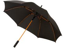 Зонт трость полуавтомат, цветные спицы Spark, черный/ оранжевый фото