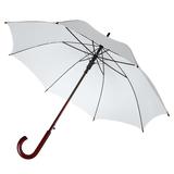 Зонт трость полуавтомат с изогнутой деревянной ручкой Unit Standard, белый фото