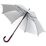 Зонт трость полуавтомат Unit Standard с изогнутой деревянной ручкой, серебристый фото