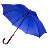 Зонт трость полуавтомат с изогнутой деревянной ручкой Unit Standard, ярко-синий фото