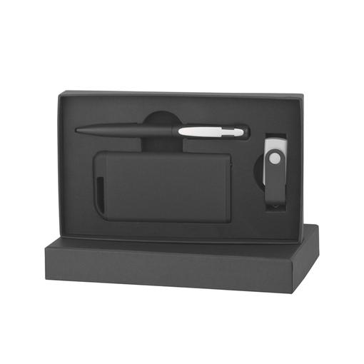 Набор ручка + флеш-карта 16Гб + зарядное устройство 4000 mAh в футляре, покрытие softgrip фото