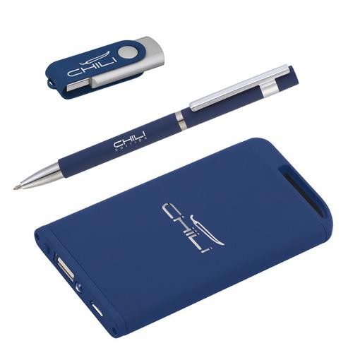 Набор ручка + флеш-карта 16Гб + зарядное устройство 4000 mAh в футляре, soft touch фото