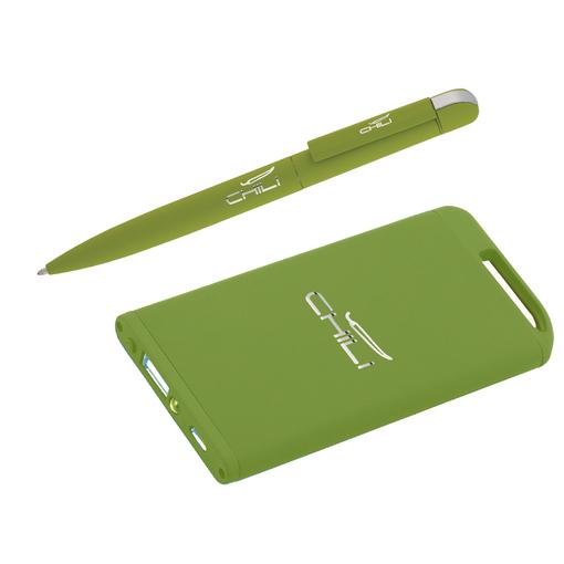"""Набор Chili: Ручка шариковая """"Jupiter"""" и зарядное устройство """"Theta"""" 4000 mAh, покрытие soft touch, салатовый фото"""