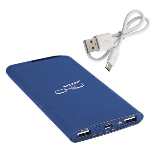 """Набор Chili: Ручка шариковая """"Jupiter"""" и зарядное устройство """"Theta"""" 6000 mAh, покрытие soft touch, синий фото"""