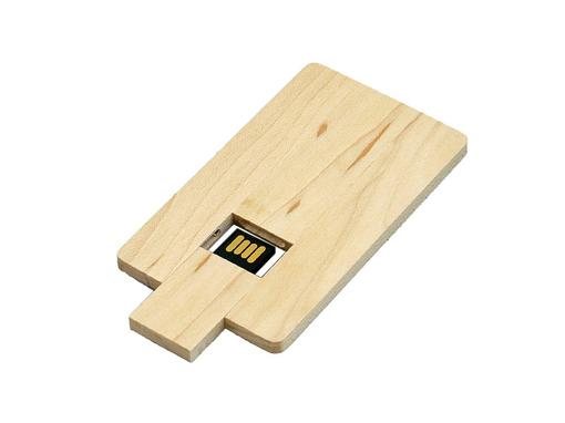 USB-флешка на 32 Гб в виде деревянной карточки с выдвижным механизмом, бежевый фото
