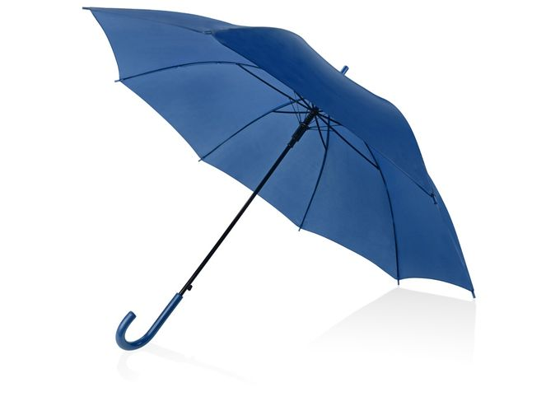 Зонт-трость полуавтоматический с пластиковой ручкой, синий фото