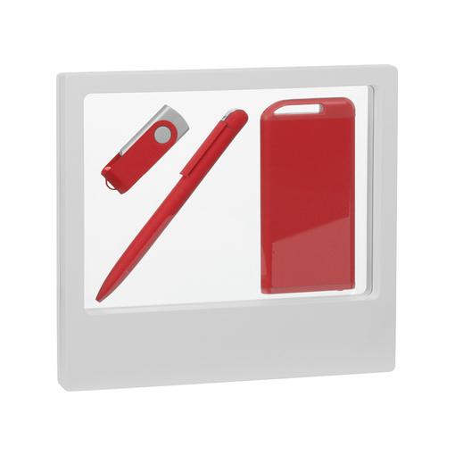 """Набор Chili: Ручка шариковая """"Jupiter"""", флеш-карта """"Vostok"""" 16 Гб и зарядное устройство """"Theta"""" 4000 mAh, покрытие soft touch, красный фото"""