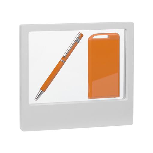 """Набор Chili: Ручка шариковая """"Mars"""" и зарядное устройство """"Theta"""" 4000 mAh, покрытие soft touch, оранжевый/белый фото"""