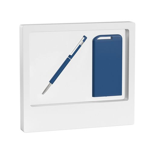 "Набор Chili: Ручка шариковая ""Star"" и зарядное устройство ""Theta"" 4000 mAh, покрытие soft touch, синий фото"