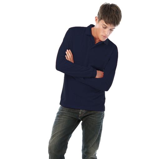 Поло мужское B&C Safran LSL, длинные рукава, синее фото