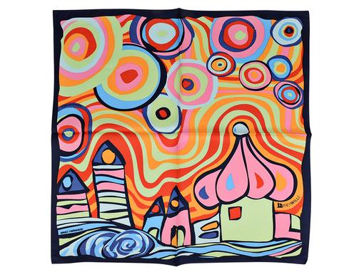 Шейный платок, салатовый/ оранжевый фото