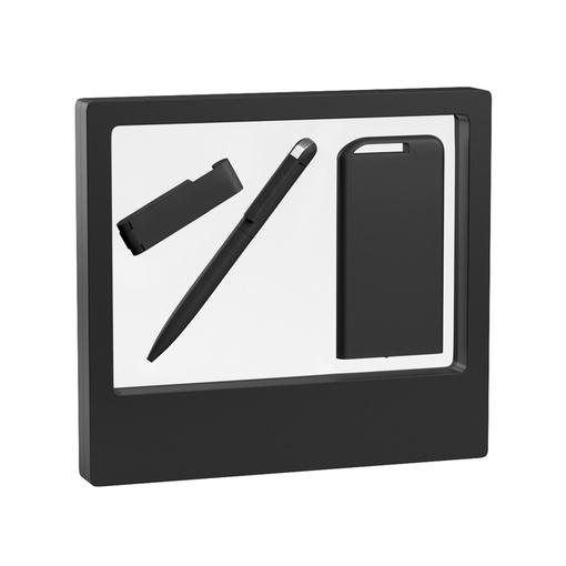 """Набор Chili: Ручка шариковая """"Jupiter"""", флеш-карта """"Case"""" 8 Гб и зарядное устройство """"Theta"""" 4000 mAh, покрытие soft touch, черный фото"""