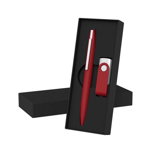 """Набор Chili: Ручка шариковая """"Mercury"""" и флешка """"Vostok"""" 16Gb, покрытие soft touch, темно-красный фото"""