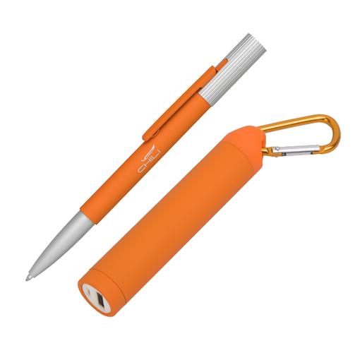 """Набор Chili: Ручка шариковая """"Clas"""" и зарядное устройство """"Minty"""" с карабином 2800 mAh, покрытие soft touch, оранжевый фото"""