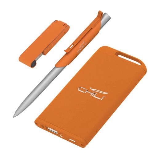 "Набор Chili: Ручка шариковая ""Skil"", флеш-карта ""Case"" 8 Гб и зарядное устройство ""Theta"" 4000 mAh, покрытие soft touch, оранжевый фото"