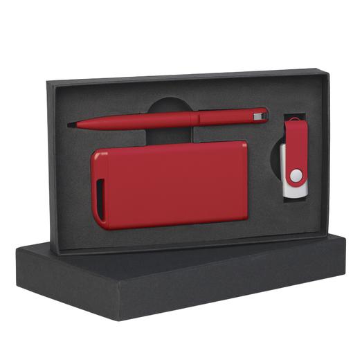 Набор: ручка, флеш-карта 16 Gb, зарядное устройство 4 000 mAh, красный фото