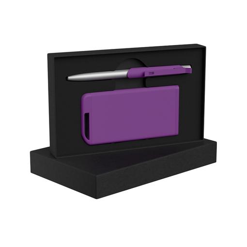 """Набор Chili: Ручка шариковая """"Skil"""" и зарядное устройство """"Theta"""" 4000 mAh, покрытие soft touch, фиолетовый фото"""