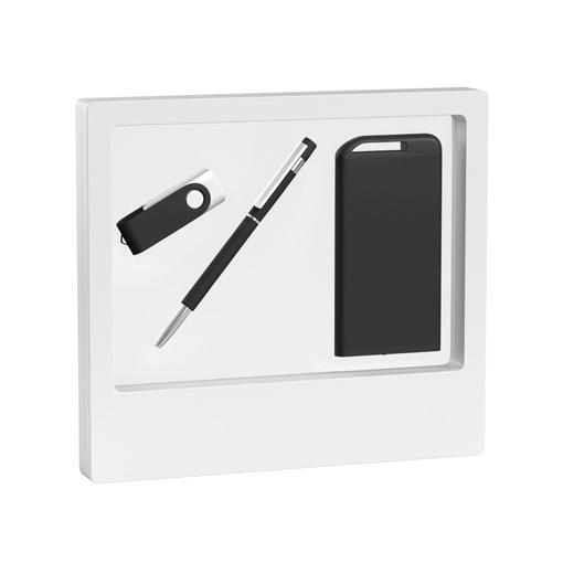 """Набор Chili: Ручка шариковая """"Star"""", флеш-карта """"Vostok"""" 8 Гб и зарядное устройство """"Theta"""" 4000 mAh, покрытие soft touch, черный/белый фото"""