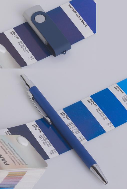 """Набор Chili: Ручка шариковая """"Ray"""" и флеш-карта """"Case"""" 8 Гб, покрытие soft touch, синий фото"""