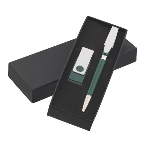 Набор авторучка + флеш-карта 8Гб в футляре, белый/ зелёный фото