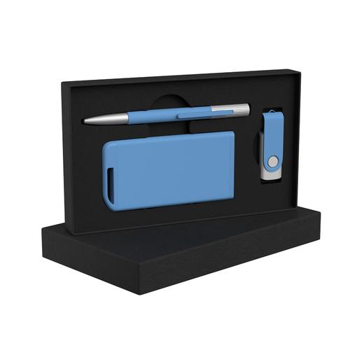 Набор ручка Clas + флеш-карта Vostok 16Гб + зарядное устройство Theta 4000 mAh в футляре, синий фото