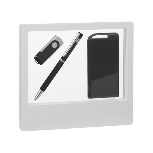 "Набор ручка ""Mars"" + флеш-карта ""Vostok"" 16 Гб + зарядник ""Theta"" 4000 mAh в футляре, покрытие soft  фото"