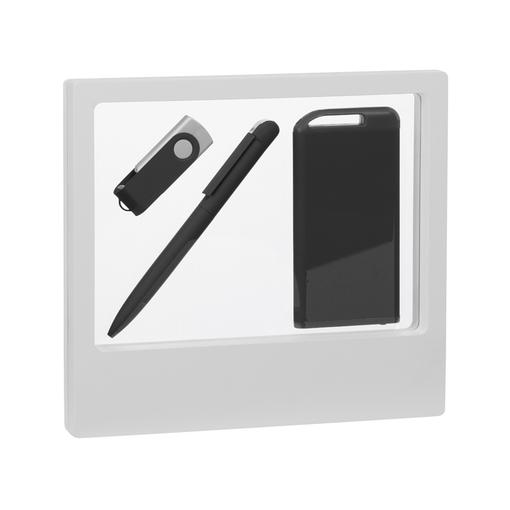 """Набор Chili: Ручка шариковая """"Jupiter"""", флеш-карта """"Vostok"""" 8 Гб и зарядное устройство """"Theta"""" 4000 mAh, покрытие soft touch, черный фото"""