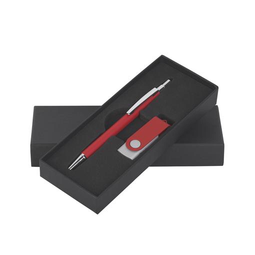 """Набор Chili: Ручка шариковая """"Ray"""" и флешка """"Vostok"""" 16Gb, покрытие soft touch, красный фото"""