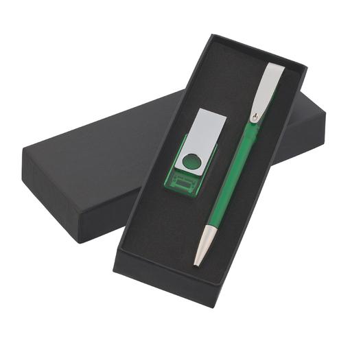 Набор авторучка + флеш-карта 8Гб в футляре, зелёный фото