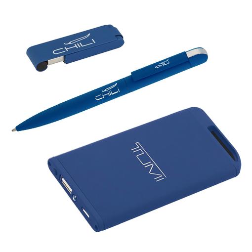 "Набор Chili: Ручка шариковая ""Jupiter"", Флеш-карта ""Case"" 8 Гб и зарядное устройство ""Theta"" 4000 mAh, покрытие soft touch, средне-синий фото"