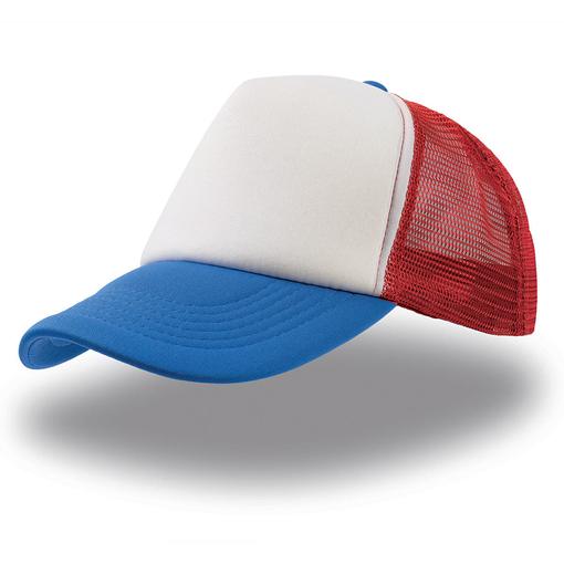 """Бейсболка """"Rapper"""", 5 клиньев, поролоновая вставка, сетка, пластиковая застежка пвх,белый синий, кра фото"""