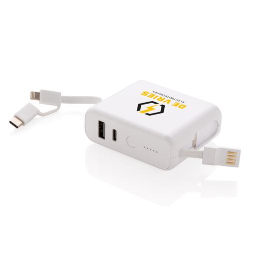 Внешний аккумулятор XD Collection с кабелями, 5000 mAh, белый фото