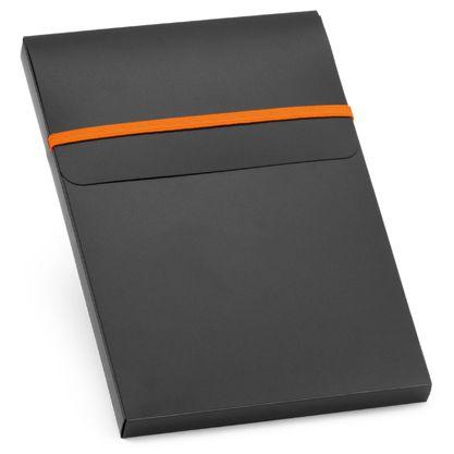 Блокнот нелинованный на резинке с ручкой Advance с ручкой, 80 листов, оранжевый/ черный фото