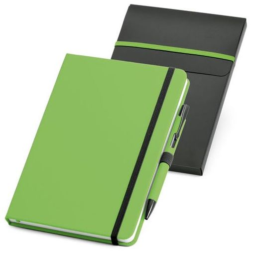 Блокнот нелинованный на резинке с ручкой Advance, 80 листов, зеленый/ черный фото