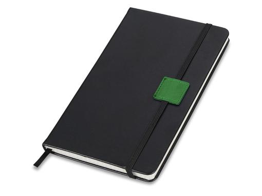 Блокнот на резинке Label А5, 80 листов, черный/зеленый фото