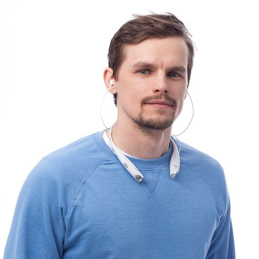 Bluetooth наушники stereoBand, белые фото