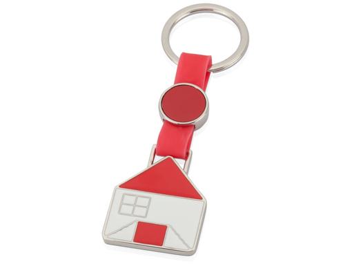 Брелок в виде домика, красный/серый фото