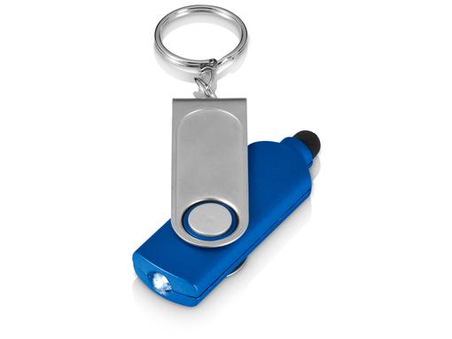 Брелок - фонарик со стилусом Swivel, синий фото