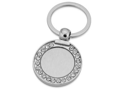 Брелок круглый со стразами, серебряный фото