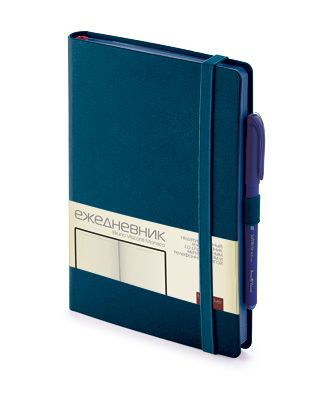 Ежедневник недатированный Monaco А5, бежевый блок, синий обрез, ляссе фото